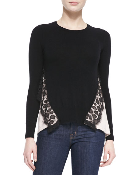 Two-Tone Leopard-Lace Top