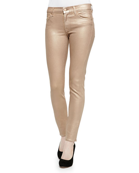 Low-Rise Skinny Metallic Jeans, Rose Gold
