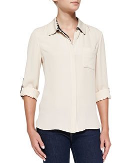 Diane von Furstenberg Lorelei Two Silk Tab-Sleeve Blouse