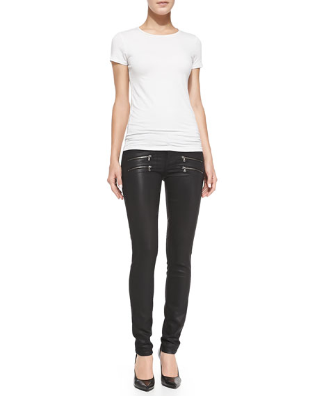 Edgemont Ultra-Skinny Zipper Jeans, Black Silk