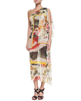 One-Shoulder Sheer Printed Coverup