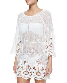 Bridgette Lace-Hem Cotton Coverup