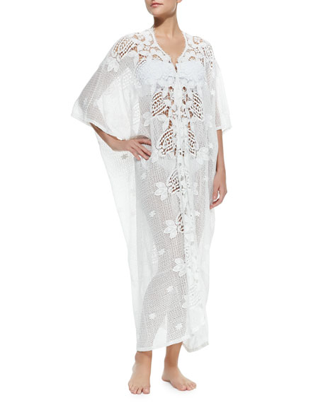 Rachel Long Crochet-Panel Caftan, White