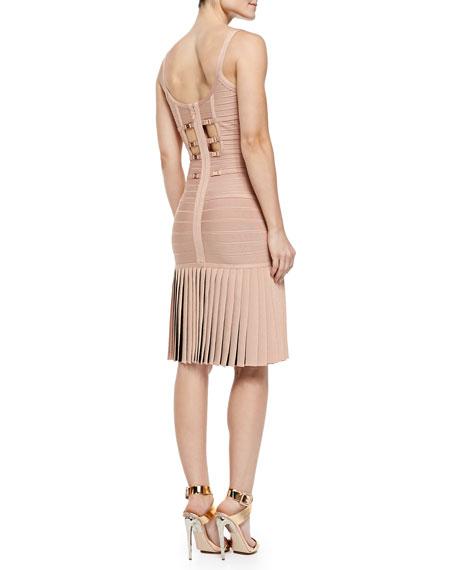 Milena Pleated Bandage Dress, Pink Champagne