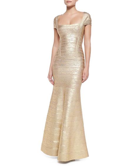 Lora Woodgrain Foil-Print Bandage Gown, Gold