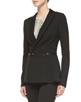 Nanette Lepore Firecracker Pleated-Side Jacket w/Leather Trim