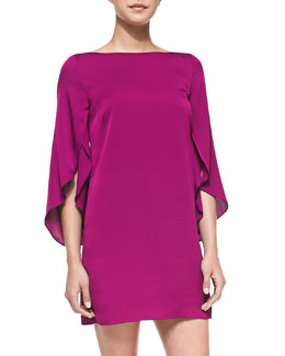 Milly Butterfly-Sleeve Stretch-Silk Dress
