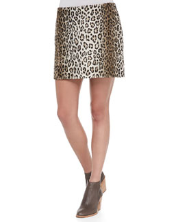 Pull-On Leopard Miniskirt