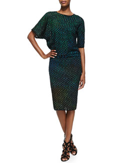 M. Missoni Bubble Knit Mid-Calf Dress