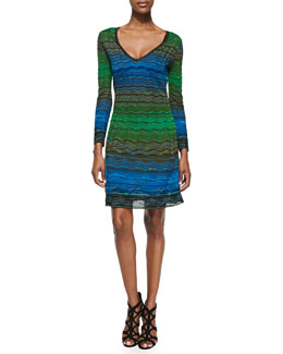 M. Missoni V-Neck Degraded Ripple-Knit Dress
