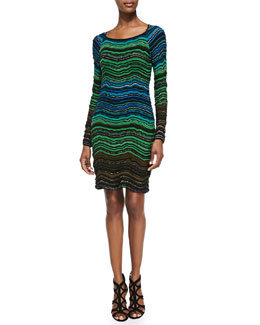 M. Missoni Long-Sleeve Fancy Ripple-Knit Dress