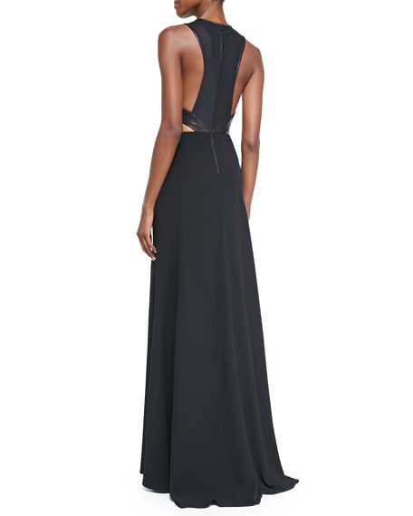 Adel Leather-Waist Cutout Gown
