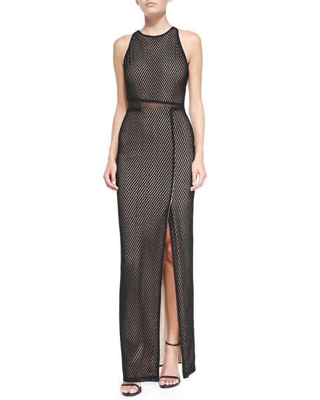 Ida Cross-Back Mesh Gown