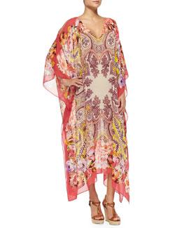 Etro Paisley Floral Silk Caftan, Pink