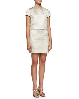 Tory Burch Brielle Metallic-Brocade Dress