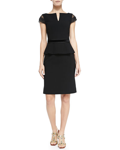 Ashley Cap-Sleeve Peplum Dress