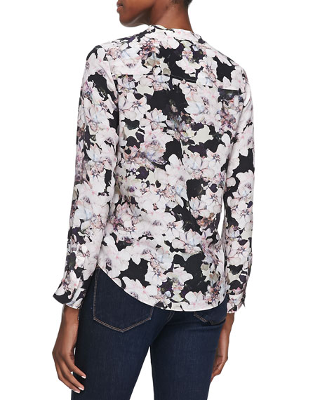 Floral-Print Double-Pocket Blouse