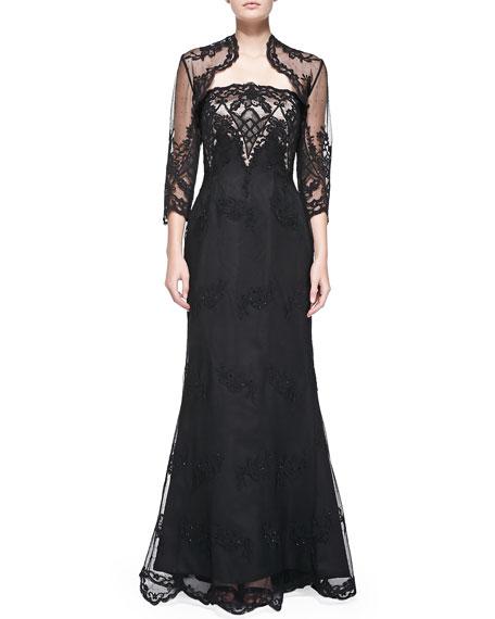 Helen Morley Strapless Lace Gown w/ Bolero