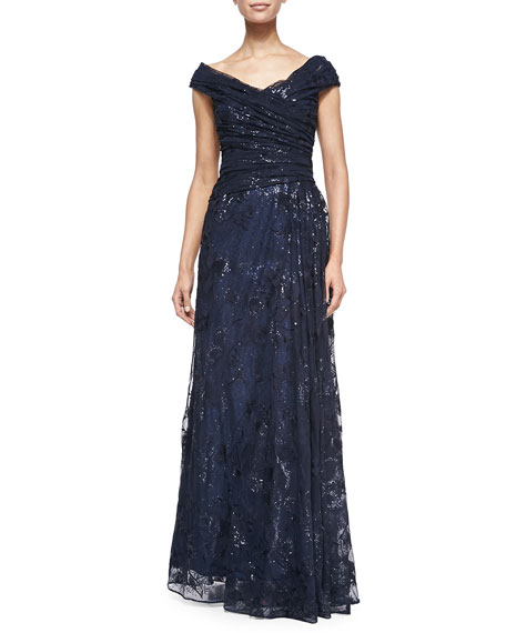 Off-the-Shoulder Metallic Lace Gown, Navy