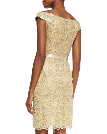Off-the-Shoulder Lace Dress, Gold
