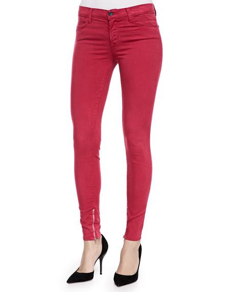 Mid-Rise Luxe Sateen Zip-Cuff Jeans, Redburn