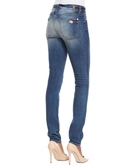 High-Rise Distressed Superskinny Jeans, Destroyed Deep Indigo