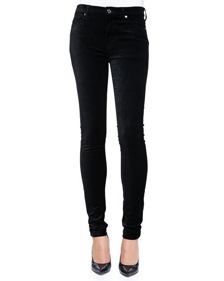 High-Rise Skinny Velvet Jeans, Black