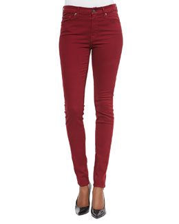 7 For All Mankind Mid-Rise Skinny Jeans, Cranberry