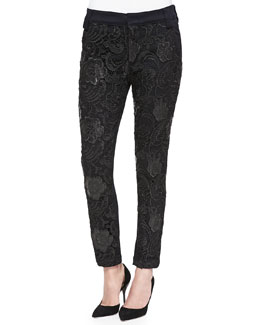 7 For All Mankind Lace-Front Pencil Trousers