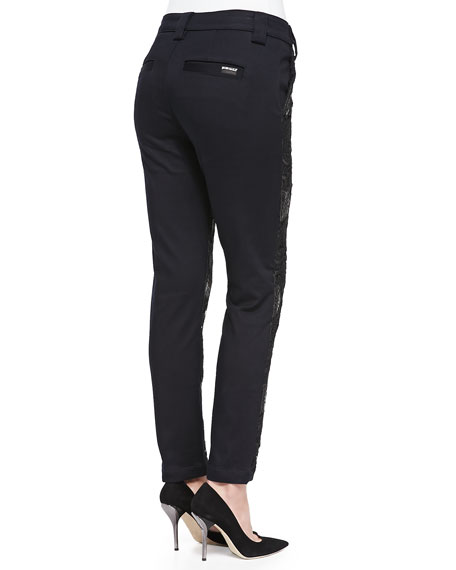 Lace-Front Pencil Trousers