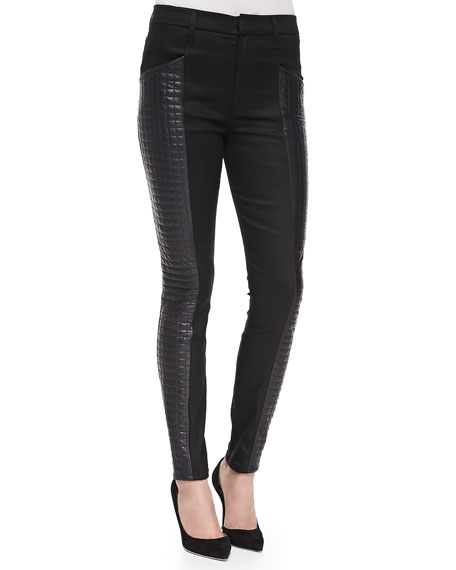 Skinny Jeans W/ Quilted Leather Sides, Black