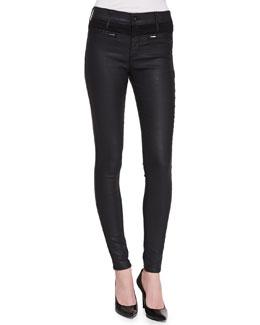 AG Adriano Goldschmied Zuri High-Rise Skinny Jeans, Black Slick