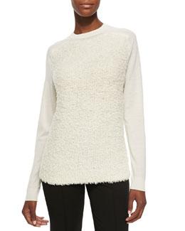 Tibi Jewel-Neck Sweatshirt Sweater W/ Furry Front