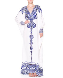Silk Eyelet-Embroidered Caftan