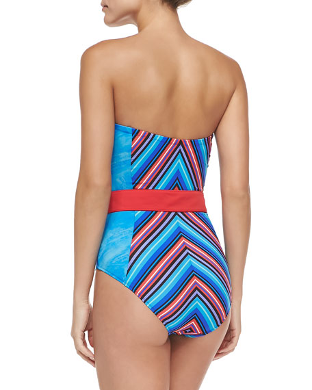 Tribal-Print Underwire Bandeau One-Piece Swimsuit