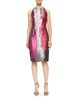 Sleeveless Paintbrush-Print Cocktail Dress