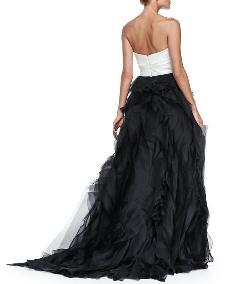 Strapless Colorblock Raw-Edge Organza Gown