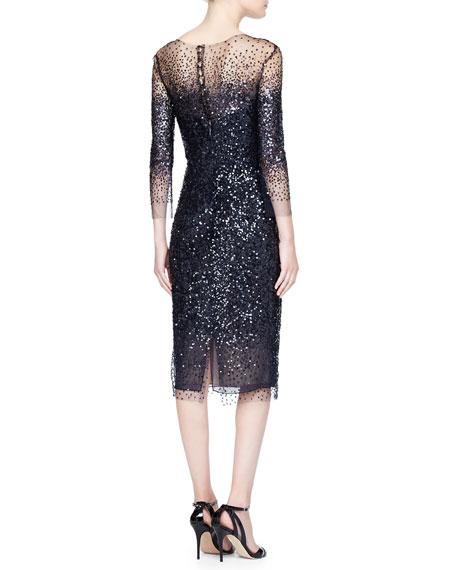3/4-Sleeve Sequined Illusion-Trim Sheath Dress
