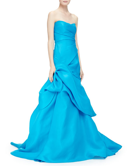 Strapless Layered Gown W/ Side Ruching
