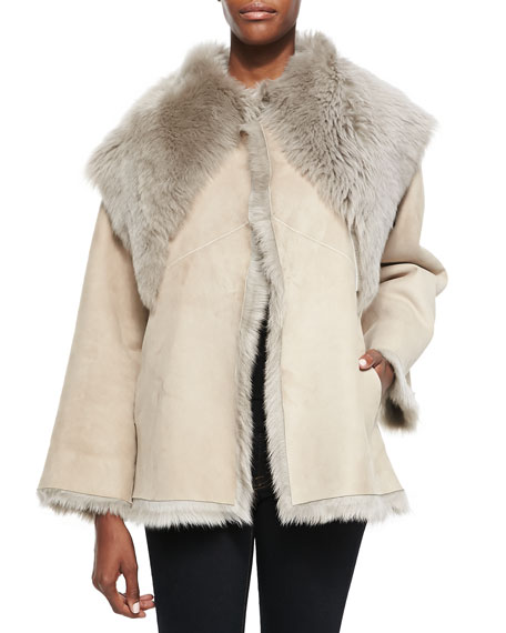 Shearling Fur Coat with Shawl Collar, Taupe