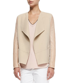 Vince Leather-Sleeve Draped Wool Jacket, Cashew