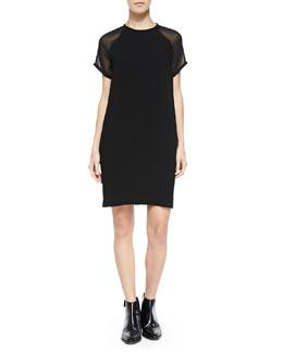 Vince Sheer-Sleeve Loose Crepe Dress, Black