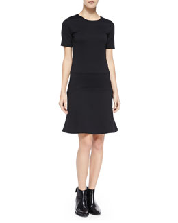 Fitted Flare-Hem Ponte Dress, Black