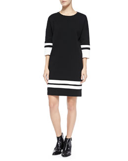 Vince Stripe-Trim Knit Dress, Off White/Black