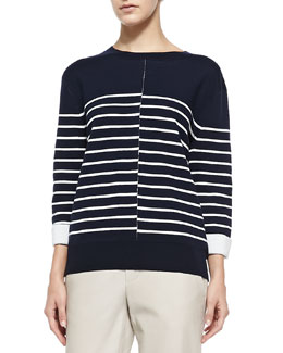 Vince Double-Face Striped Knit Sweater, Coastal/Off White