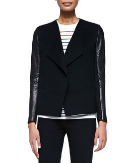 Vince Leather-Sleeve Draped Wool Jacket, Black