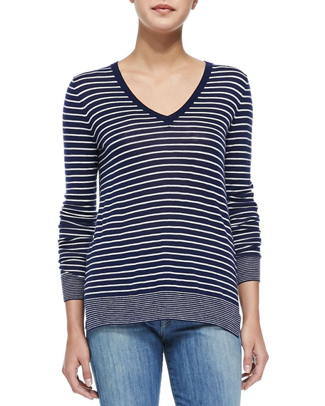 Contrast-Trim Striped Knit Tee, Off White