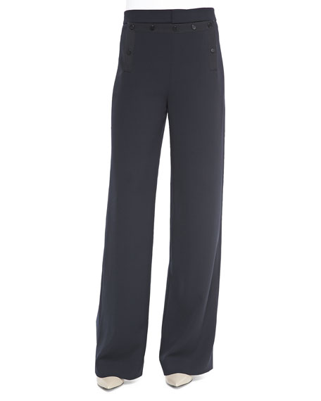 Sailor-Button Wide-Leg Pants, Coastal