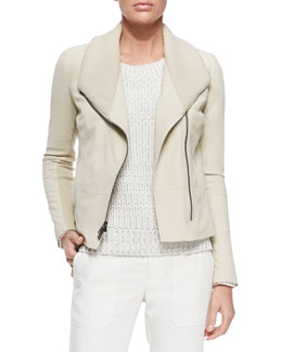 Vince Ribbed/Leather Fitted Jacket, Off White