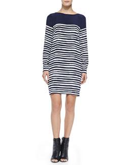 Vince Long-Sleeve Marker Stripe Dress
